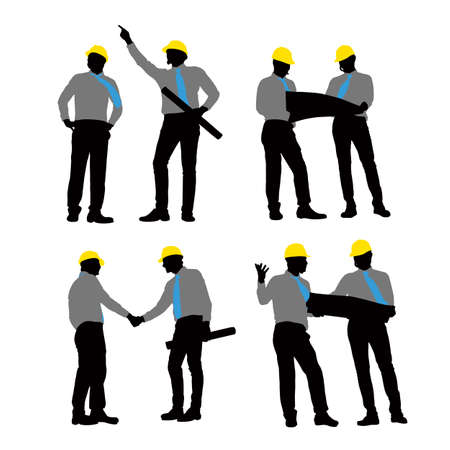 architect: Silhouettes of Architect handshaking and meeting with white background Illustration