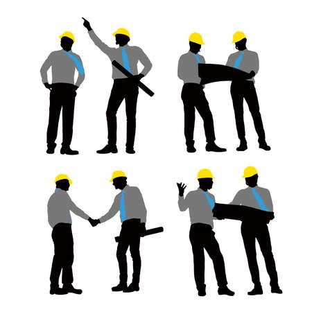 arquitecto: Siluetas de apretón de manos Arquitecto y reunión con el fondo blanco