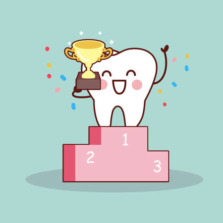 win win: cartoon tooth winner,  great for health dental care concept