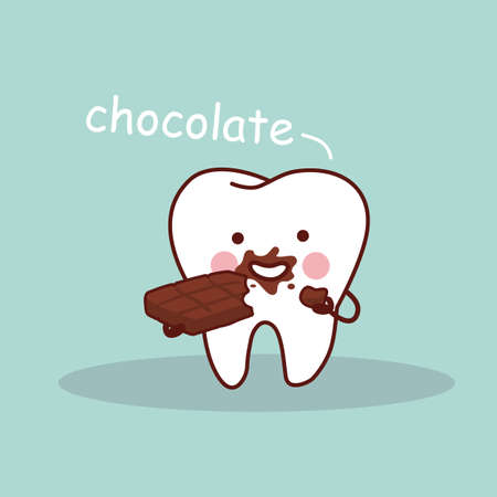doctor care: cartoon tooth with chocolate, great for health dental care concept