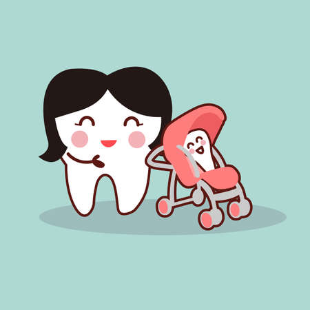 baby tooth: cartoon mother and baby tooth, great for health dental care concept