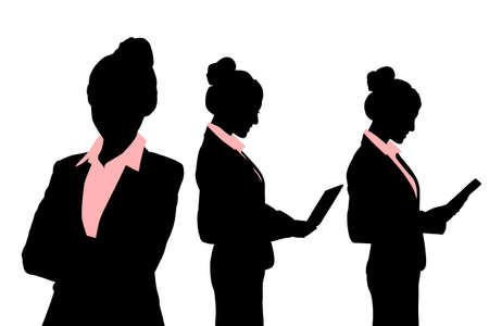 face silhouette: Silhouettes of Business woman with computer over white background