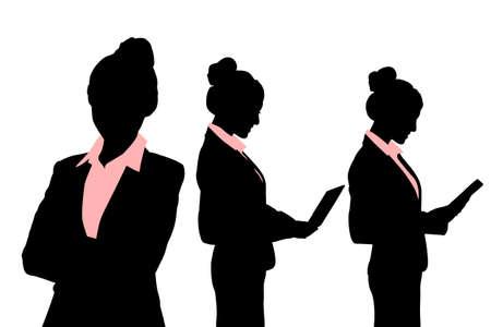 siluetas mujeres: Siluetas de la mujer de negocios con ordenador sobre el fondo blanco Vectores