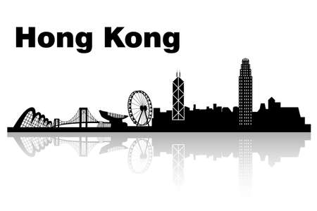 hong kong skyline: Hong Kong skyline with white background, great for your design