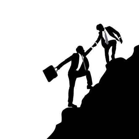 man outdoors: Teamwork - Silhouettes of business men team climbing mountain