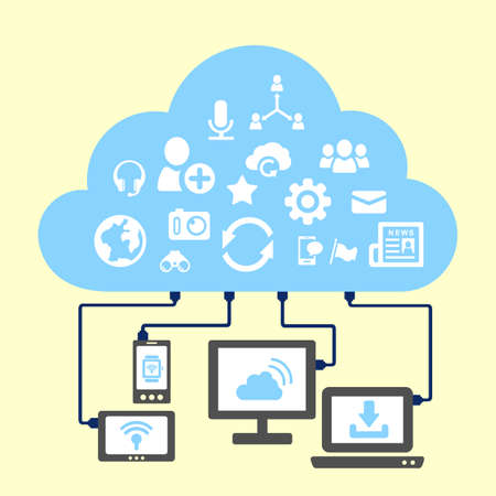 cloud computing technologies: Social media and cloud computing concept - icon connect to cloud Illustration