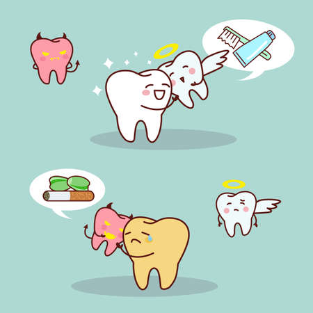 whiten: cartoon whiten teeth vs brown teeth with angel and devil , great for health dental care concept Illustration