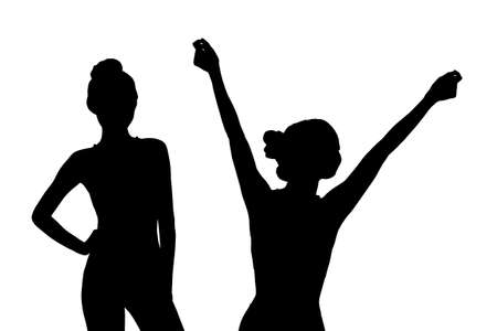 weight loss success: Silhouette of Young Woman feel carefree with white background