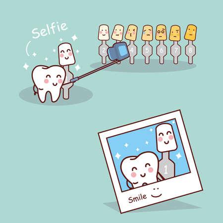 diente caricatura: diente de la historieta con el blanqueamiento y blanqueo herramienta de toma selfie juntos, ideal para la atención y el blanqueamiento de dientes dental y el concepto de blanqueo