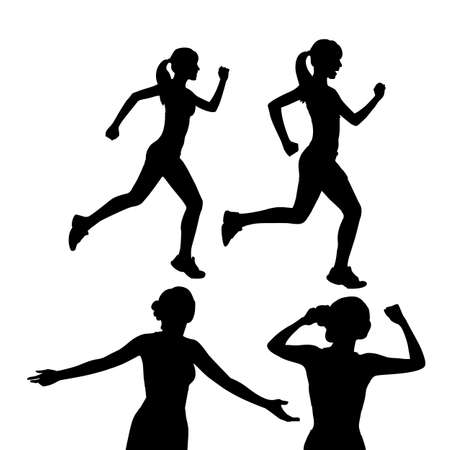 women working out: Silhouette of Young sport woman run with white background
