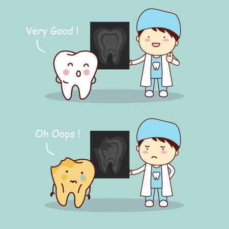 diente caricatura: diente de la historieta y el médico dentista con rayos X, gran concepto de cuidado dental de la salud
