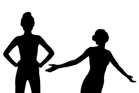 weight loss success: Silhouette of Young sport woman feel carefree with white background