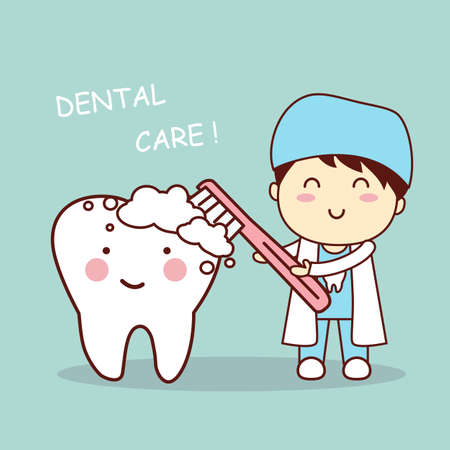 white teeth: cute cartoon dentist doctor brush tooth, great for health dental care concept