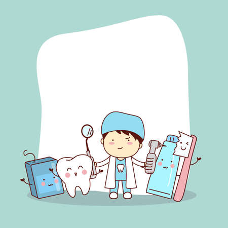 hospital cartoon: Happy cartoon tooth friend with dentist doctor and empty billboard, great for health dental care concept