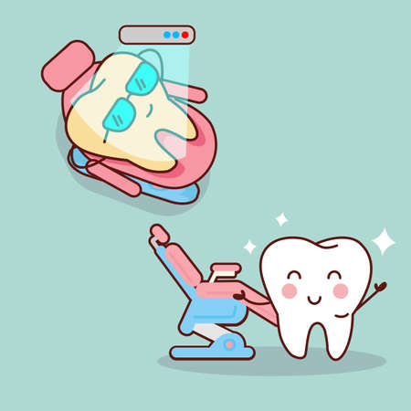 diente caricatura: diente de la historieta con el blanqueamiento y la herramienta de blanqueo, ideal para el cuidado dental y blanqueamiento de dientes y el concepto de blanqueo Vectores