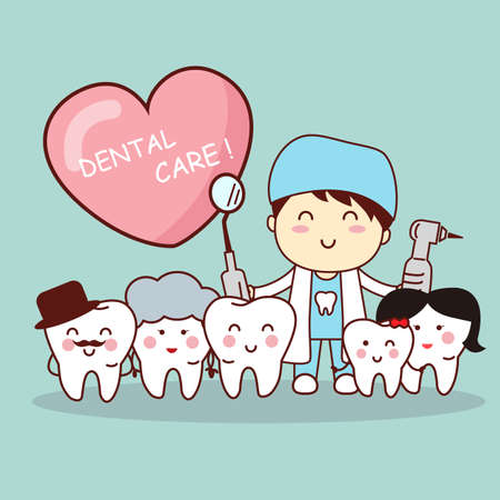 hospital cartoon: Happy cartoon tooth family with dentist doctor, great for health dental care concept Illustration