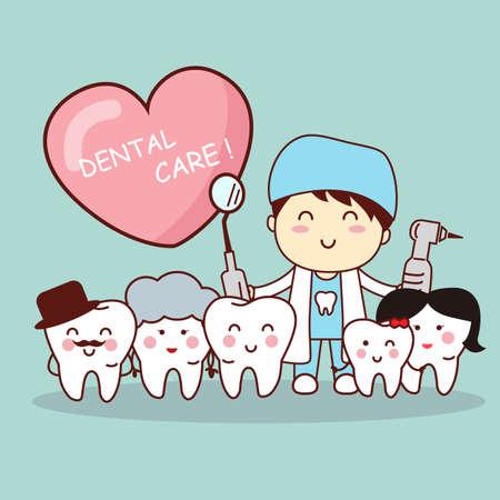 muela caricatura: la familia del diente de dibujos animados feliz con el m�dico dentista, gran concepto de cuidado dental de la salud