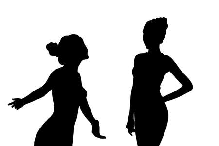 carefree: Silhouette of Young sport woman feel carefree with white background