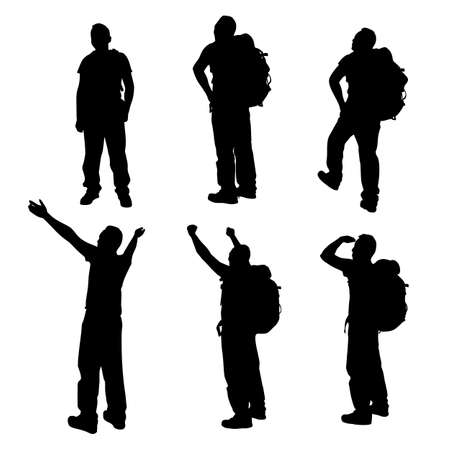 mountain climber: Silhouette of Success man mountain climber with white background Illustration