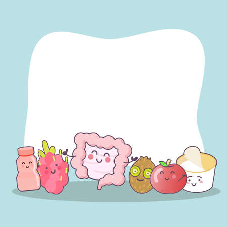 apple character: cartoon intestine with health food and empty billboard, great for health care concept Illustration
