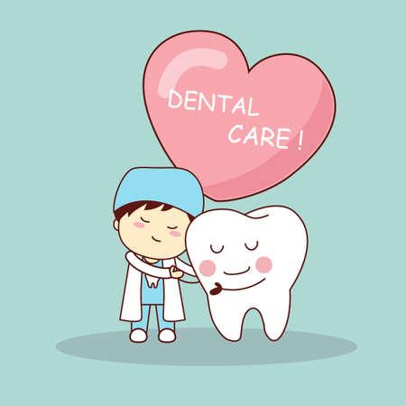 dientes caricatura: diente de dibujos animados feliz y un dentista con el coraz�n el amor, ideal para el concepto de cuidado de la salud dental