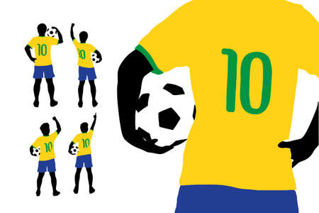man full body: Man and soccer silhouette, Brazil soccer player man with ball