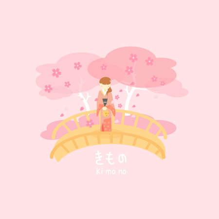 yukata: Japan woman wear Kimono with cherry blossom or sakura - Kimono in Japanese words below