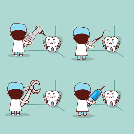 dental fear: cartoon fear tooth with dentist and dental equipment, great for health dental care concept