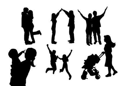 father and child: silhouette of family with white background, great for your design