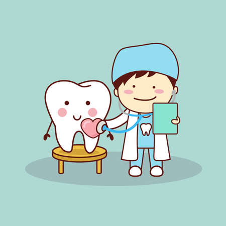 intern: Happy cartoon tooth and dentist with stethoscope, great for health dental care concept
