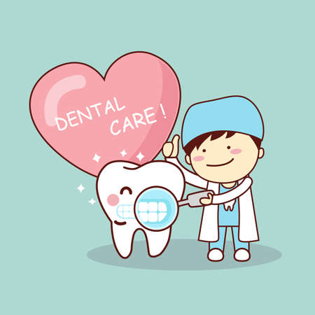 doctor care: Happy cartoon tooth and dentist with love heart, great for health dental care concept Illustration
