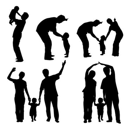 father of the bride: silhouette of family with white background, great for your design