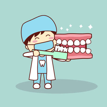 tooth paste: Happy cartoon denture and dentist teach you brush teeth, great for health dental care concept