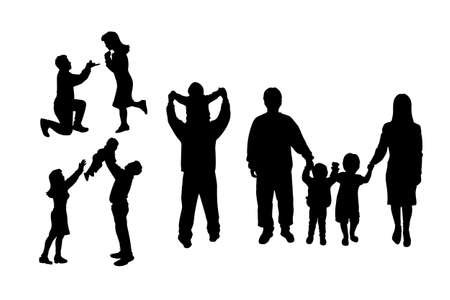kneel down: silhouette of family with white background, great for your design