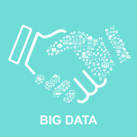 business people shaking hands: Big Data concept - Flat icon, great for your design
