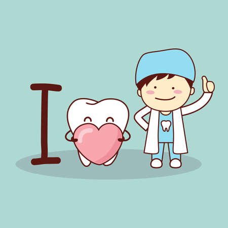 aseo: diente de dibujos animados feliz y un dentista con el coraz�n el amor, ideal para el concepto de cuidado de la salud dental