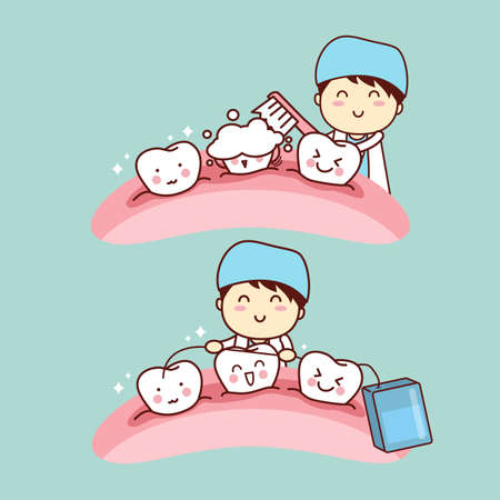hospital cartoon: cute cartoon dentist doctor brush tooth, great for health dental care concept