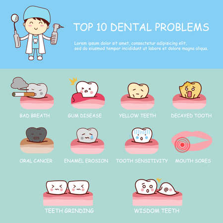 surgery doctor: Dental health care infographic - top ten dental problems , great for dental care concept Illustration