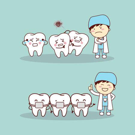 muela caricatura: diente de dibujos animados lindo con los apoyos del m�dico dentista, gran concepto de cuidado dental de la salud