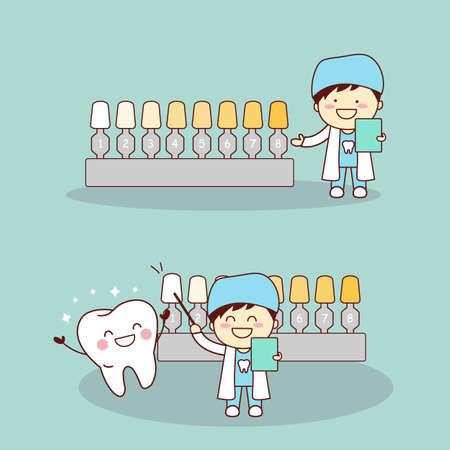 teeth whitening: Happy cartoon tooth and dentist with whitening and bleaching tool, great for dental care and teeth whitening and bleaching concept