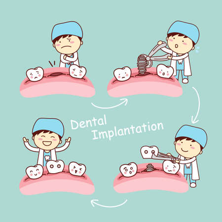 mouth to mouth: cute cartoon tooth implant treatment with dentist, great for health dental care concept