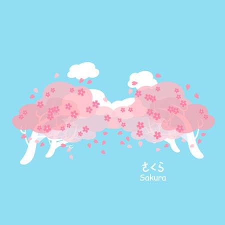 fleur cerisier: fleur de cerisier ou sakura avec le ciel bleu - sakura ci-dessous dans les mots japonais