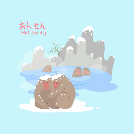 onsen: monkey with hot Spring in the winter - hot Spring on upper right in Japanese words