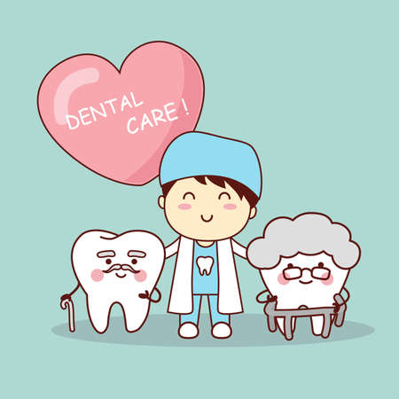 older woman smiling: Happy cartoon old tooth with dentist, great for health dental care concept
