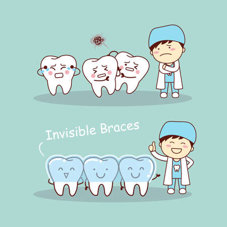 surgery doctor: cute cartoon tooth invisible braces with dentist doctor, great for health dental care concept