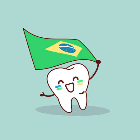 surgery doctor: cartoon tooth hold brazil flag, great for your design