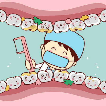 dental treatment: cute cartoon dentist doctor clean tooth by floss, great for health dental care concept Illustration