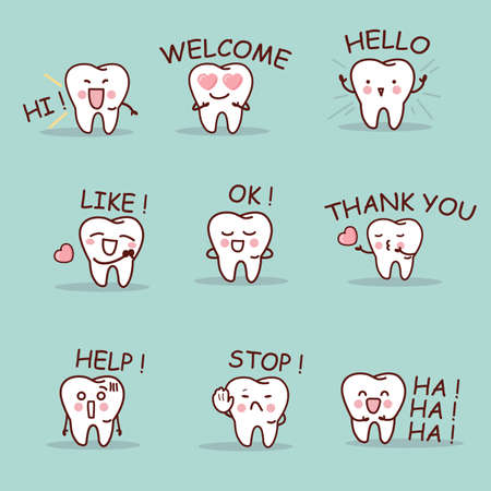 ha: cute cartoon tooth set with all kind of emoji, great for your design