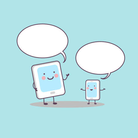 phone conversation: cute cartoon smart and digital tablet pc communicate with Speech Bubble, great for technology concept Illustration
