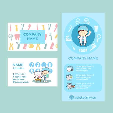 diente caricatura: Conjunto de viajero y tarjetas de visita para la clínica dental. diente de la historieta linda y médico, por su gran diseño Vectores